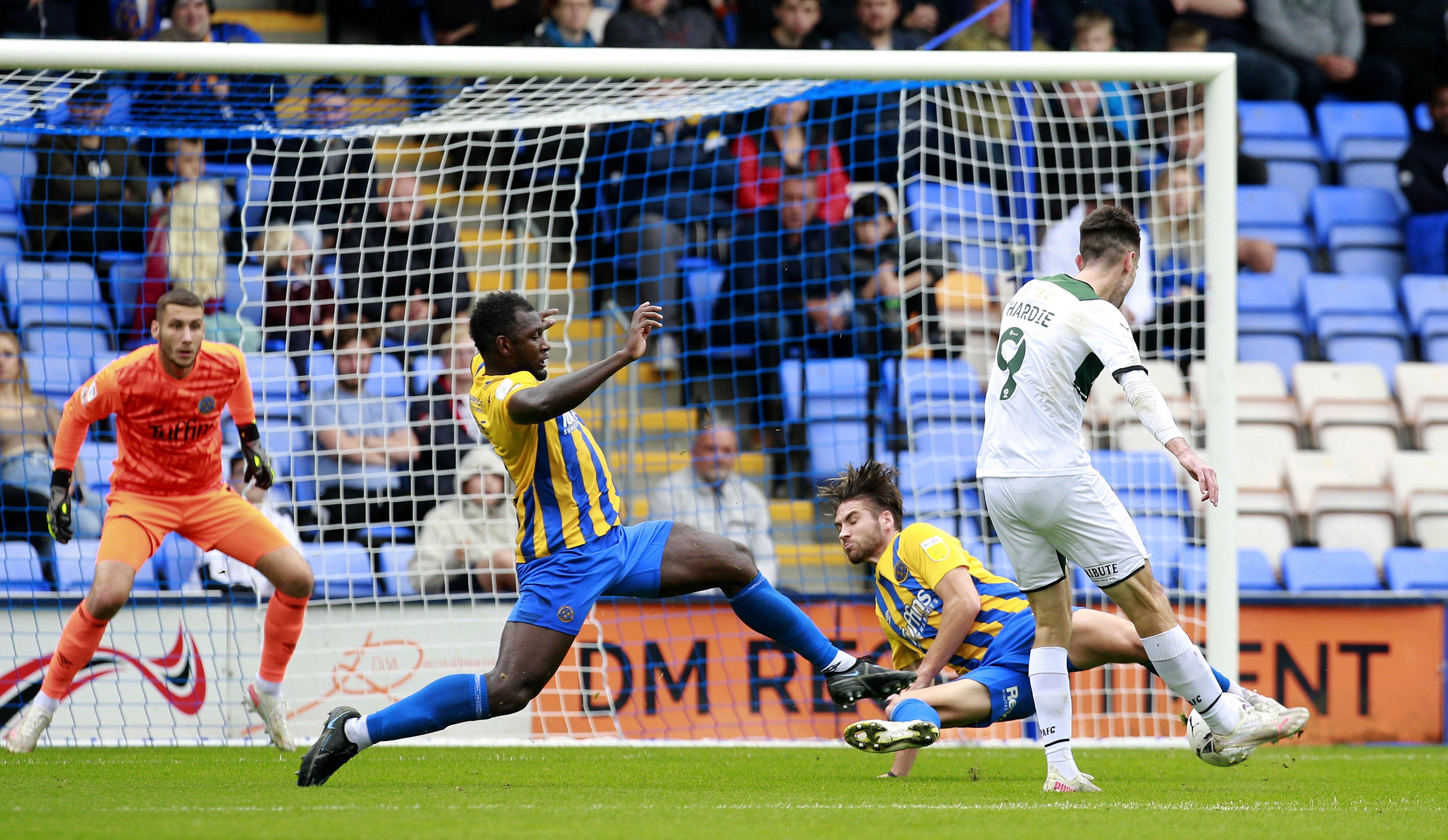Hardie opens the scoring at Shrewsbury