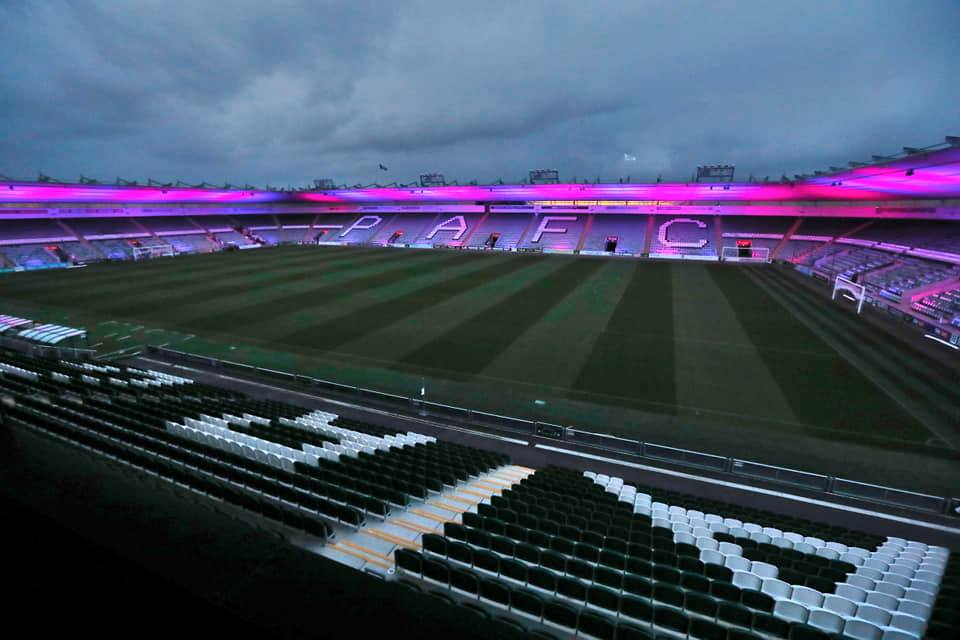 Home Park Stadium lit up blue and pink for Baby Loss Awareness Week