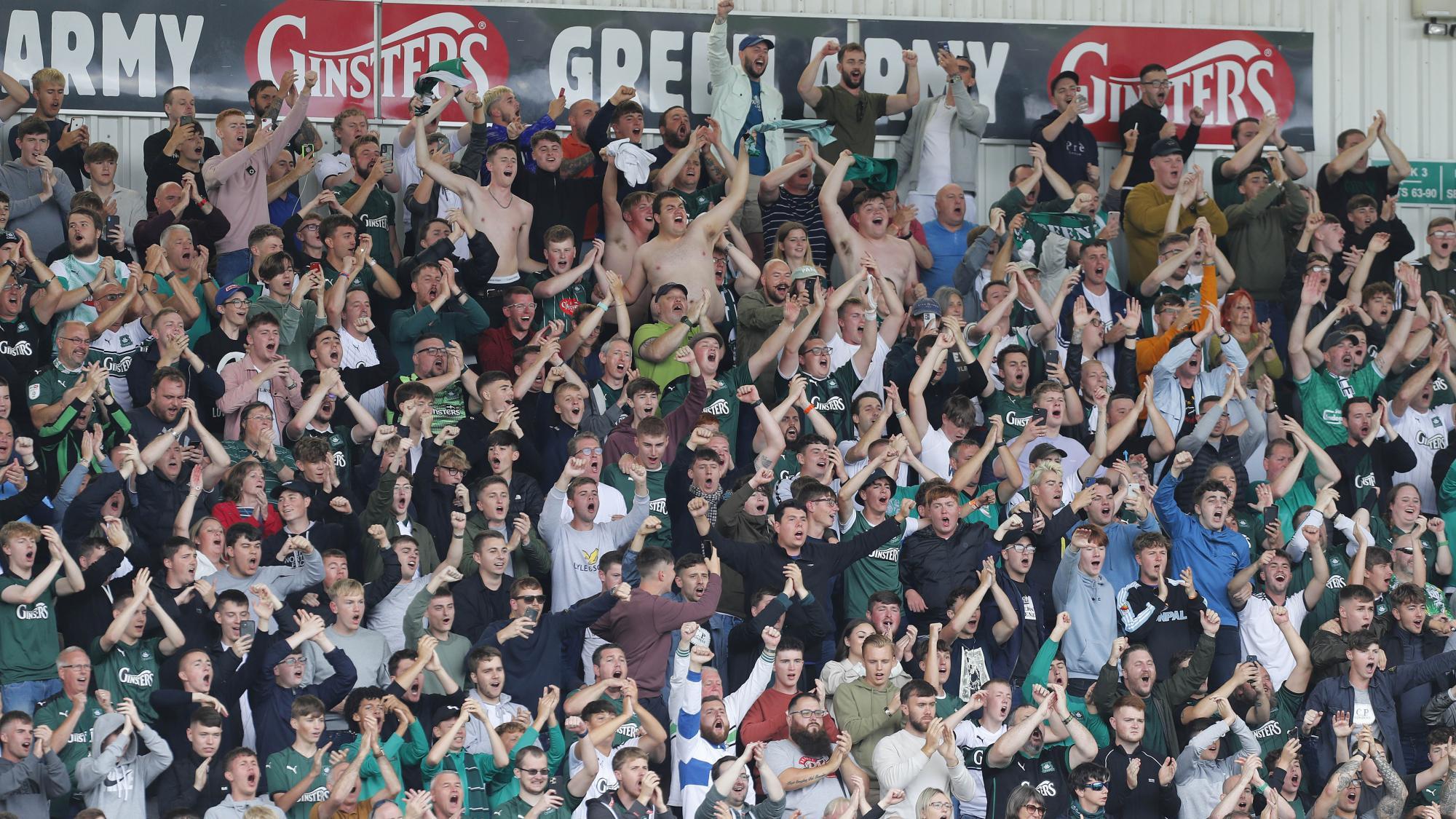 Fans celebrate a goal